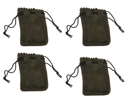 """4 Green Genuine Suede Leather 3"""" Drawstring Pouch Bag Jewelry Coin Renaissance"""
