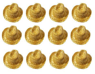 Lot of 12 Miniature Straw Cowboy Hats 3-1/2