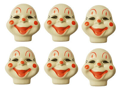 Lot of 6 Medium Clown Celluloid Plastic Doll Masks Faces Craft Doll Making VTG - Craft Dolls