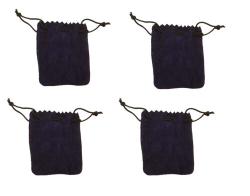 """4 Blue Genuine Suede Leather 3"""" Drawstring Pouch Bag Jewelry Coin Renaissance"""