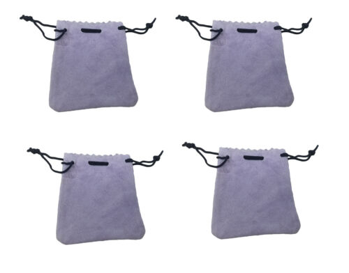 """Lot of 4 Lavender Genuine Suede Leather 3"""" Drawstring Pouch Bag Jewelry Coins"""