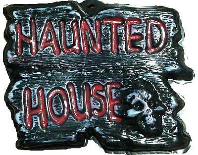 Gothic Warning Sign-HAUNTED HOUSE-Wall Door Plaque Halloween Prop - Halloween Prop Diy
