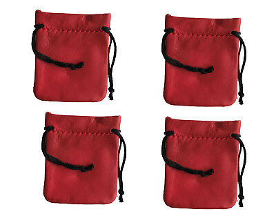 4 Red Genuine Leather Small 3 Drawstring Pouch Bag Jewelry Coin Renaissance