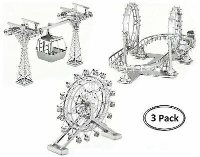 Roller Coaster Cable Car Ferris Wheel Metal Model Kit 3D Laser Cut 3D Puzzle -