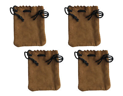 4 Tan Genuine Suede Leather 3 Drawstring Pouch Bag Jewelry Coin Renaissance