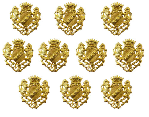 10 Pcs Gold Brass Plated Animal Coat of Arms Pin Brooch Craft Jewelry Findings