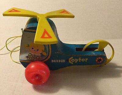 Wood Pull Toy Mini Copter #448 Fisher Price Vintage