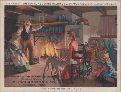 Victorian Trade Card-New Home Sewing Machine-Cleveland, OH-Wolcottville, IN