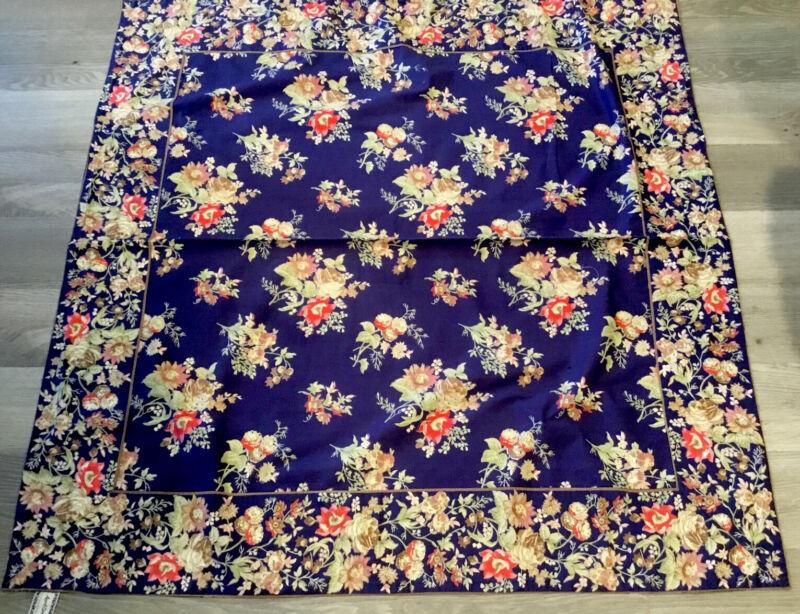 April Cornell Tablecloth, Cotton, Printed Flower Design, Navy Blue & Beige