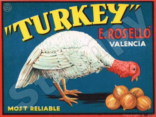 "Turkey brand Onion label Metal Sign 9"" x 12"""