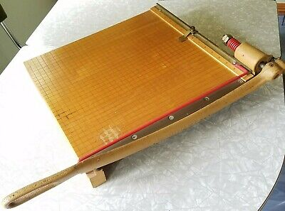 Vintage Ingento No. 5 Wooden Maple 15.5 Guillotine Paper Cutter Tested Works