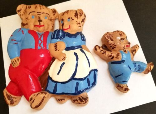 The Three Bears Colorful Chalk Sculpture Wall Hanging Child