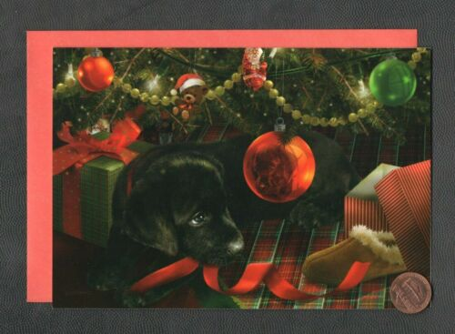 CHRISTMAS Black Labrador Dog Ornament - GIORDANO - Greeting Card - W/ TRACKING