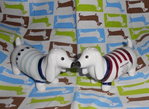 ~Set of 2~ DACHSHUND ☀️ Stoneware TARGET Salt Pepper Shakers ☀️ WIENER DOGS  New