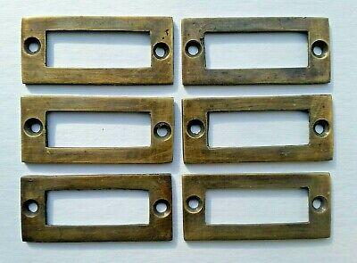 6 antique vintage brass file cardholder label holder 2 3/16