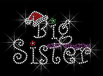 Christmas Big Sister Rhinestone Iron On Transfer Hot Fix Bling Mom Santa Hat