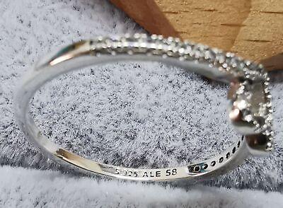 Pandora Ring 199302C01 Sparkling Wishbone Heart Ring SIZE 58 ALE S925