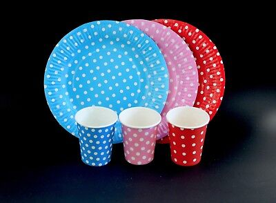 Polka Dot Party Paper Disposable Plate & Cup Set Wedding Events Decoration Cheap - Cheap Colored Paper Plates
