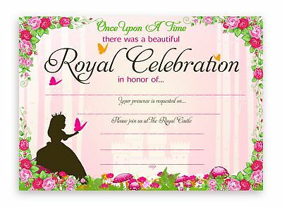 Princess Fairy Tale Party LARGE Invitations - 10 Invitations + 10 Envelopes