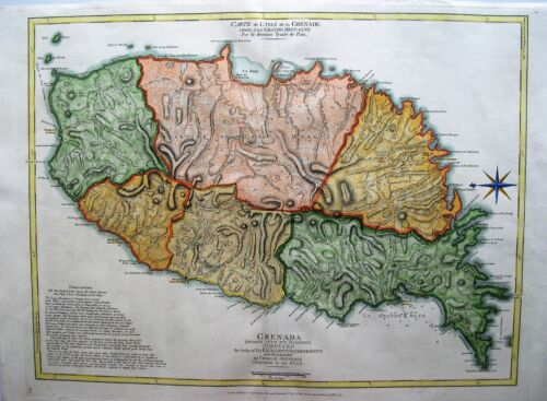 Antique Map of Grenada: West Indies: R. Sayer & Thomas Jefferys: London, 1775
