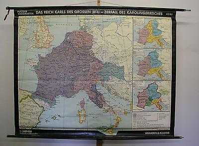 Schulwandkarte Beautiful Wall Map School Role Karl the Great 183x144 1966
