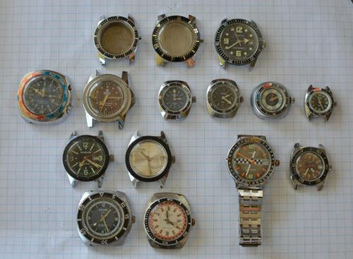 15-lot Vintage DIVER Wristwatch for Parts Repair 1970s Sicura Mortima Men Ladies