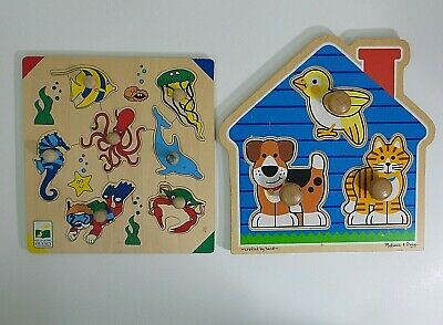 Melissa & Doug House Pets Jumbo Knob Puzzle #2055 and Learning Sea Life Knobs