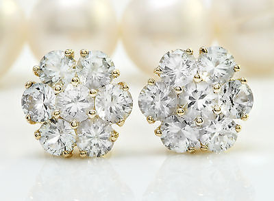 3.50CTW Natural White Sapphire in 14K Solid Yellow Gold Stud Earrings