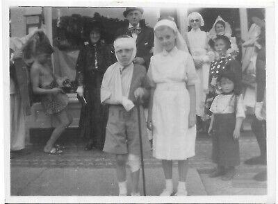 vtg photo boys girls in Halloween ? costume injured boy nurse weird - Nurse In Halloween