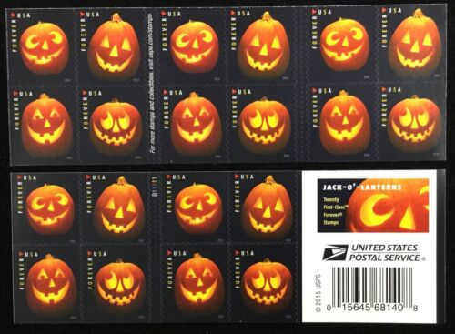 5137-5140    Jack-O'-Lanterns.  MNH Forever d/s  pane of 20   FV $11.00  In 2016