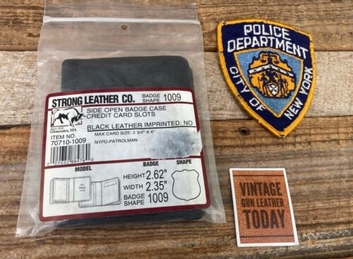 Vintage Strong Black Leather Badge ID Wallet 1009 For NYPD Patrolman Shield
