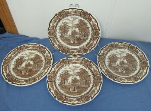 """4 AMERICANA STYLE HOUSE Ironstone J&G Meakin England Dinner Plates 10 1/2"""" Brown"""
