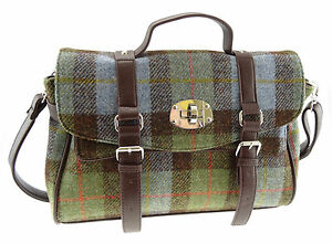 Ladies 100% Harris Tweed Green Tartan Fashion Satchel Bag LB1001 Col15