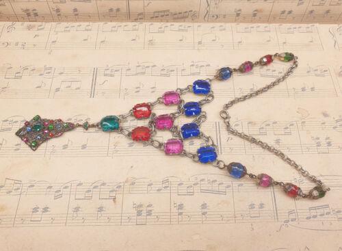 Vintage Czech Art Deco 1930s Colourful Glass Gemstone Drop Pendant Bib Necklace