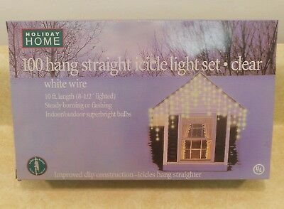 Holiday Home  100   Icicle Lights Clear White Christmas Decoration vintage