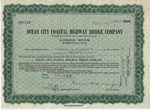 1928 NEW JERSEY Ocean City Coastal Highway Bridge Co Stock Certificate Longport