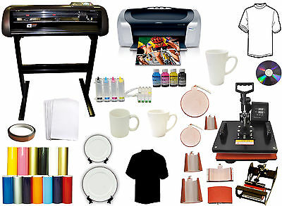 28 24 Vinyl Cutter Plotter 1000g8in1 Heat Press Combo Printer Ciss Decal Pack