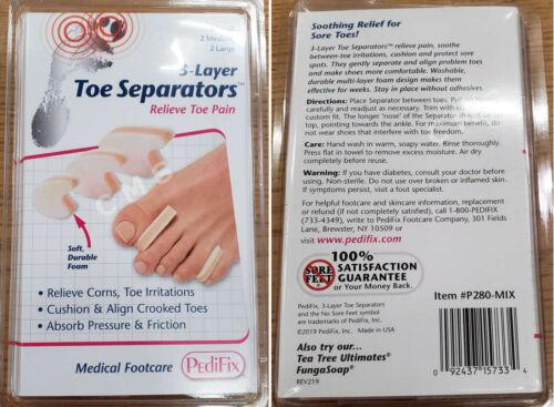 PEDIFIX 3-Layer Foam Crooked Toe Separators Soft Cushions MIX 6-PACK S / M / L