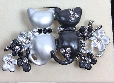 CAT PIN Black Silver Austrian Crystals Painted Enamel Rhinestones STUNNING NEW