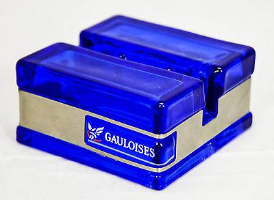Gauloises Tabak Speisekartenständer, Aufsteller, Glas, Edelstahlabsetzung