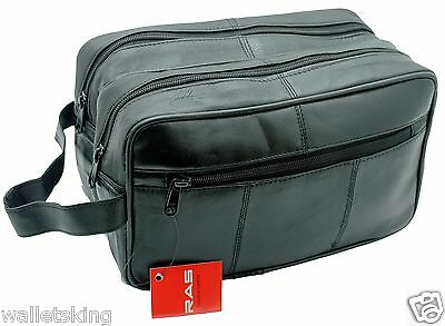 GENUINE LEATHER TRAVEL ORGANISER WASH GYM BAG TOILETRY HOLIDAY BAG BLACK- 3520