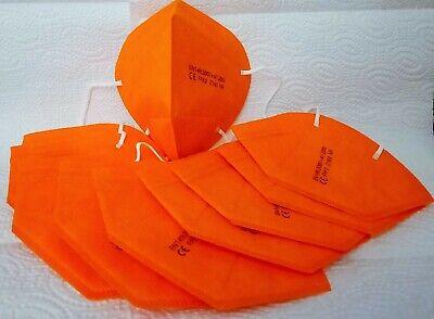 10 x FFP2 Maske CE Zertifikat KN95 Mundschutz, orange Tüte wiederverschließbar