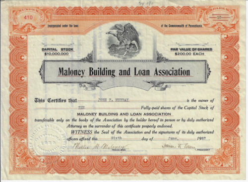PENNSYLVANIA 1927 Maloney Building and Loan Association Stock Certificate