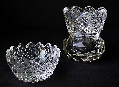 Antique Miniature LEAD CRYSTAL VASE + BOWL Hand-Carved in Germany