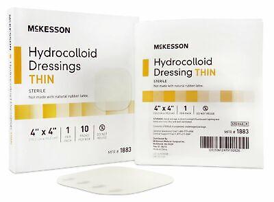 Thin Hydrocolloid Dressing McKesson 4 X 4 Inch Square Sterile Box of 10