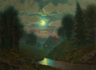 original oil painting landscape signed on canvas vintage antique style 1124 COLE