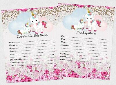 Unicorn Baby Shower Invitations English Or Espanol Nina Invitaciones Girl Cards - Baby Shower Cards
