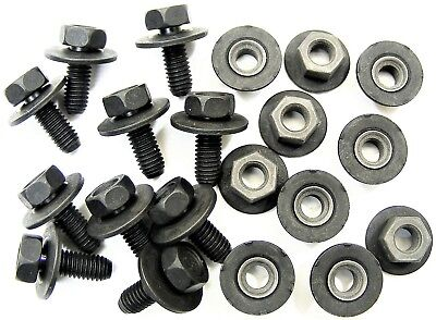 For Nissan Body Bolts & Barbed Nuts- M6-1.0 x 16mm Long- 10mm Hex- 20 pcs- #376