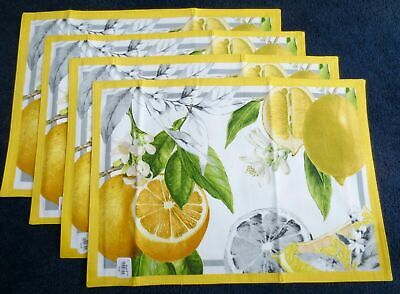 New Williams Sonoma Meyer Lemon Set of 4 Placemats Free -