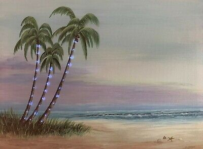 PALM TREES LED Light Up Lighted Canvas Painting Picture Wall Art Home Decor - Light Up Palm Tree